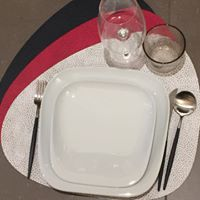 Placemat CURVE L - HIPPO white-grey